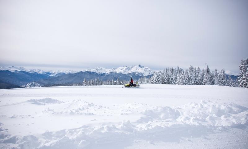 Snowmobiler in Vail